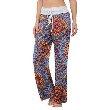LONGYUAN Calça de pijama feminina confortável casual com elástico e cordão Palazzo Lounge Calça pantalona para todas as estações, Peacock Blue, L