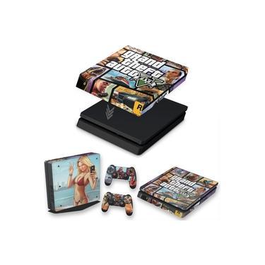 Capa Anti Poeira e Skin para PS4 Slim - Gta V