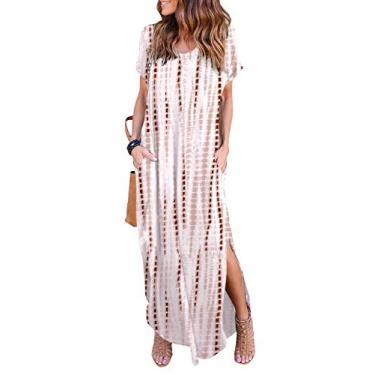 Vestido longo feminino casual de manga curta com decote em V e fenda lateral para praia, Marrom café, M