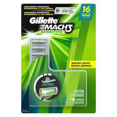 Imagem de Carga Para Aparelho De Barbear Gillette Mach3 Sensitive 16 Unidades