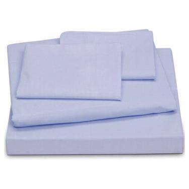 Jogo de cama Casal King 4 peças 200 fios - azul LE