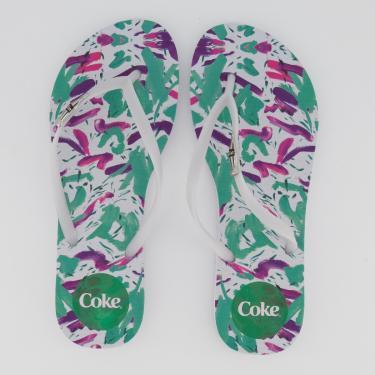 Chinelo Coca Cola Summer Feminino Branco e Verde - 39-40