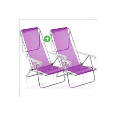 kit 2 Cadeira De Praia Alumínio Mor Reclinavel 8 Posições Rosa Sannet