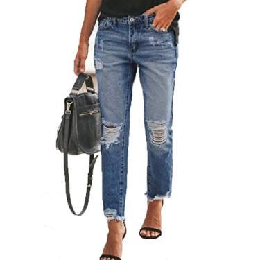 Calça jeans feminina rasgada slim fit lavada bainha crua desgastada da Sidefeel, Azul, Large