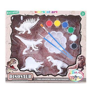 angwang Kit de estatuetas de dinossauro, pintura de dinossauros, artes artesanais, decorar suas próprias estatuetas de dinossauro, brinquedos para crianças a partir de 4, 5, 6, 7, 8, 1#