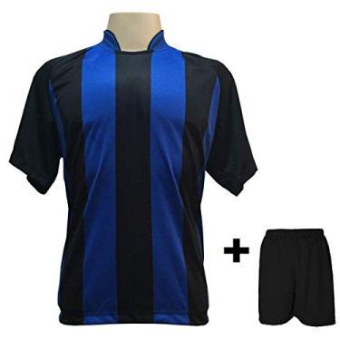Uniforme Esportivo com 20 camisas modelo Milan Preto/Royal + 20 calções modelo Madrid + 1 Goleiro + Brindes