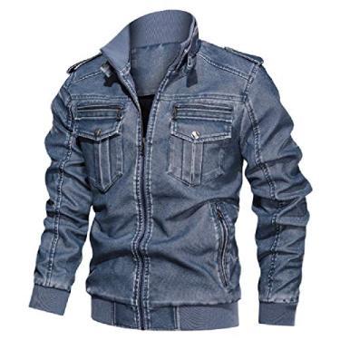 Jaqueta masculina UUYUK de couro sintético para motociclista plus size outono inverno retrô casaco agasalho, Azul, X-Large