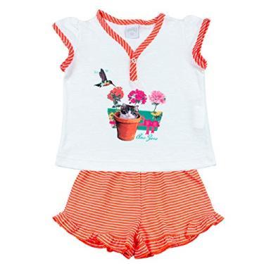 Pijama Infantil Menina Malha Lisa e Listrada Beija Flor e Gatinho - Coral 2