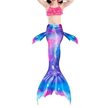 Jurebecia menina Sereia Biquíni Hangneck Biquíni Lindo cauda de peixe sereia rosa,120
