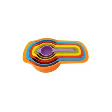 Kit Conjunto Jogo Medidores Medidas 6 Colher Xícara Colorido