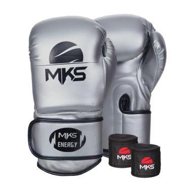 Kit Luva Boxe Mks Energy V2 Silver Bandagem Preta 2,55M 12Oz