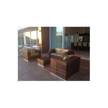 Conjunto Sofá E Poltronas Área Externa Varanda Jardim Quadrado Tecido