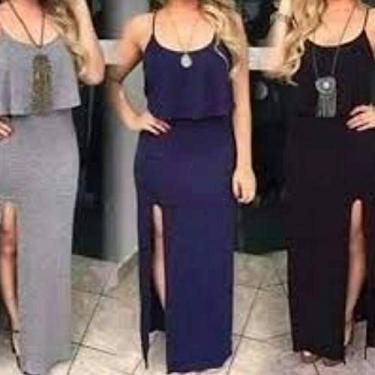 Vestido Plus Size Longo Fenda e Babado (Azul marinho, G1)
