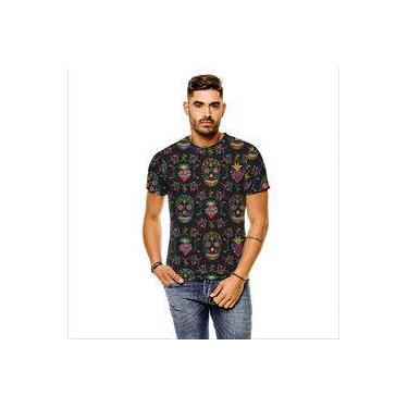 Camiseta Caveira Floral Garden Cinza Masculina