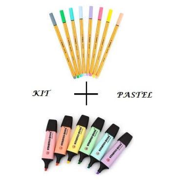 Kit Caneta Stabilo point 88-8 pcs + Marca texto Stabilo Boss 6 pcs - Tons Pastel