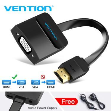 Vention hdmi para vga adaptador 1080p hdmi macho para vga conversor fêmea com 3.5 jack cabo de áudio 205937744