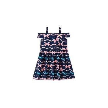 Vestido Infantil Verão Laços Azul Marinho Menina Mundi 4/6 Anos