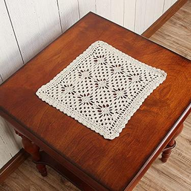 Imagem de Vanyear Toalha de mesa pequena de algodão quadrada bege para mesa de café 25,4 cm