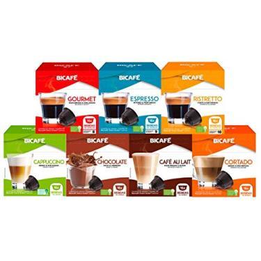Imagem de 112 Cápsulas Para Dolce Gusto - 7 Caixas - Kit Café E Bebida - Cápsula Bicafé