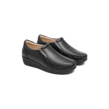 Sapato Feminino confort couro sola Anabela 80 mager preto