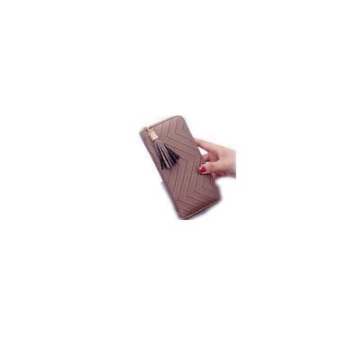 Longo Carteira Mulheres bolsas Tassel Carto Coin Purse Moda Titular Carteiras Feminino pu carteira de couro (Bronze)