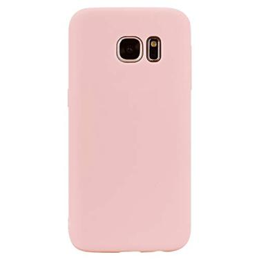 Shunda Capa para Galaxy S7, Capa ultrafina de silicone TPU macio fosco à prova de choque Capa protetora para celular para Samsung Galaxy S7 5,1 polegadas - Rosa claro