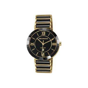 e460f9fa60047 Relógio Feminino Technos Ceramic 2015BV 4P Pulseira Dourada Preta 40mm
