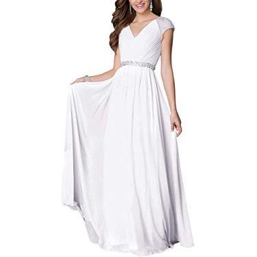 Vestido longo feminino Hajotrawa plus size coquetel festa casamento vestido chiffon noite baile formatura, Branco, XL
