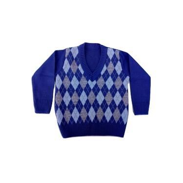 Blusa infantil modelo escocesa para menino azul petróleo com cinza
