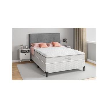 Cama Box Casal + Colchão Umaflex Itália com Pillow Top e Molas Ensacadas 69x138x188 cm – Branco
