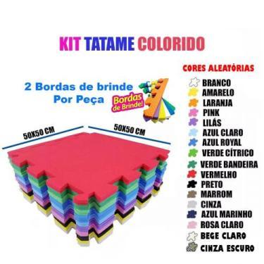 Kit 12 Pçs Tapete De Eva Tatame Escolar Infantil 50x50 10mm +  24 bord