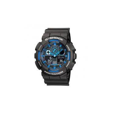 15b1998e048 Relógio Casio Masculino G-Shock Ga-100-1a2dr Preto Azul