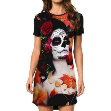 Vestido Caveira Mexicana Outono Feminino Tamanho:EXG
