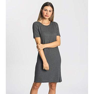 Vestido Feminino Canelado Rovitex Cinza M