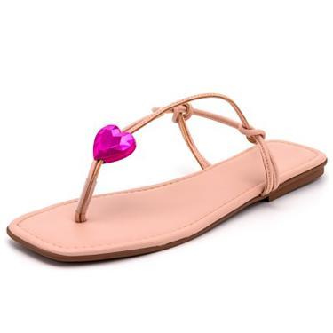 Sandalia Rateira Belle Comfort Bico Quadrado Com Tiras  Rosa  feminino