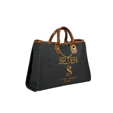 Bolsa Sacola Grande Selten Cinza  feminino