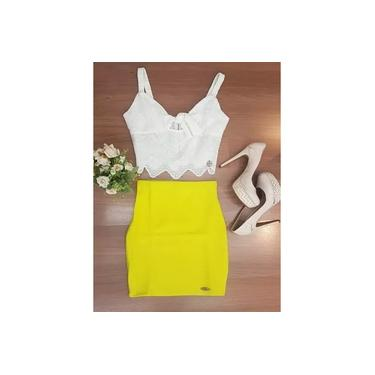 Saia Miss Misses cintura alta Amarelo 10836