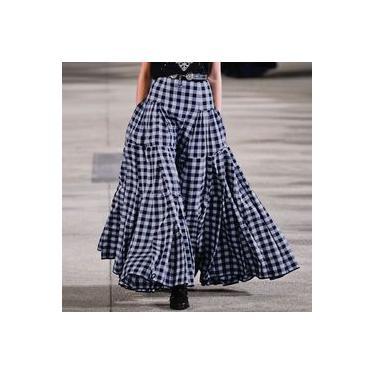 Plus size cheque das mulheres vestido de verão ZANZEA 2020 Saias de primavera elegantes causais cintura alta plissada saia longa saia xadrez feminina Faldas saia