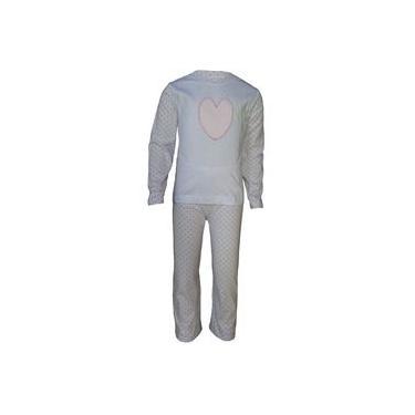 Pijama Infantil Manga Longa Menina Coração Bordado 100% algodão