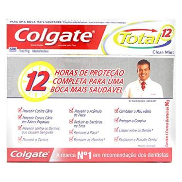 Creme Dental Colgate Total 12 Clean Mint 90g Promo Bandeja 4un