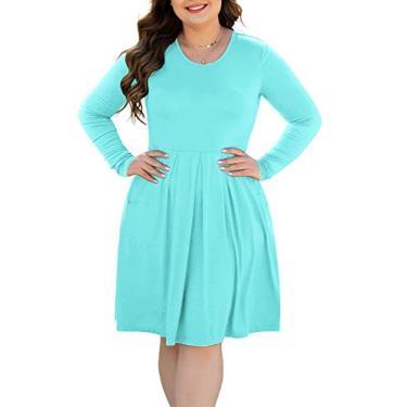HAOMEILI Vestido feminino plus size de manga curta casual plissado com bolsos, Long Sleeve Nile Blue, 3X-Large