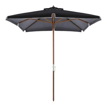 Ombrellone Quadrado 2,05 X 2,05 M Premium Em Bagum E Madeira - Preto (8 Varetas) - Bel Fix