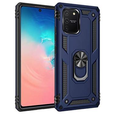 Capa Samsung Galaxy S10Lite/A91/M80S/A71 5G Case Protetor Material militar TPU macio +couro de PC proteção dupla camada de metal magnético para carro Suporte 360 graus girado anti-queda e anti-riscos capa:Azul