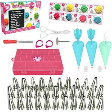 conjunto de decoração de bolo, Kit de bicos para confeitar e acessórios 52 peças, inclui jogo De Bicos Para Confeitar Em Inox, Bolsa decorativa para decoração de canos, Pontas para acoplar, para Confeitaria Bolo Cupcake.