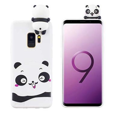 SHUNDA Capa de silicone para Samsung Galaxy S9 [película de desenho fofo 3D] Capa protetora de TPU flexível com absorção de choque para Samsung Galaxy S9 - Panda tímido