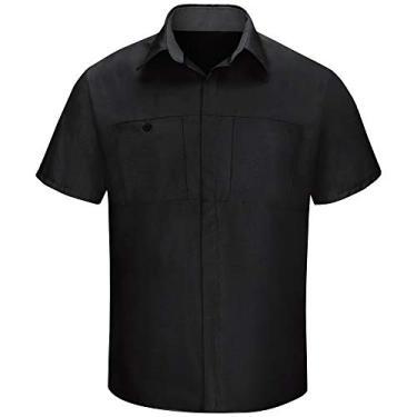 Imagem de Camisa masculina Red Kap de manga curta Performance Plus Shop com tecnologia OilBlok, Preto com malha de carvão, 3XL