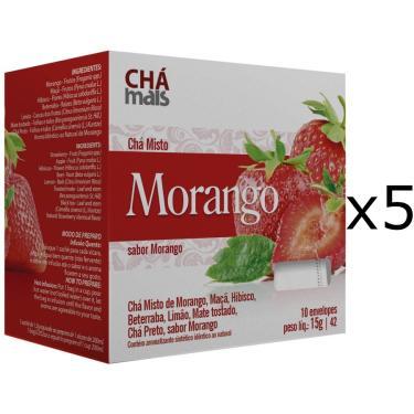 Chá de Morango Kit com 5 Caixas de 10 Sachês cada