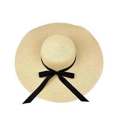 Chapéu de palha feminino com aba larga e protetor solar, chapéu de praia dobrável dobrável, 14 cm - bege, M