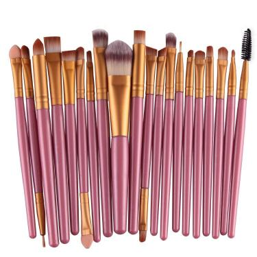 bcaf05666ed72 Pinceis Maquiagem Kit 20 Peças Rosa Pincel Kit Profissional