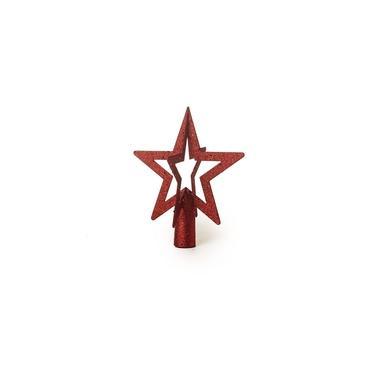 Ponteira Estrela 3D Para Árvore De Natal 20x17Cm Vermelho